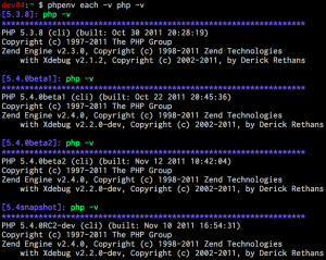 phpenv each によるバージョンの一斉確認