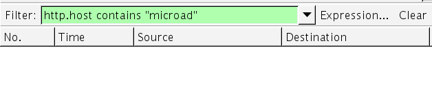 Wireshark による microad のキャプチャ